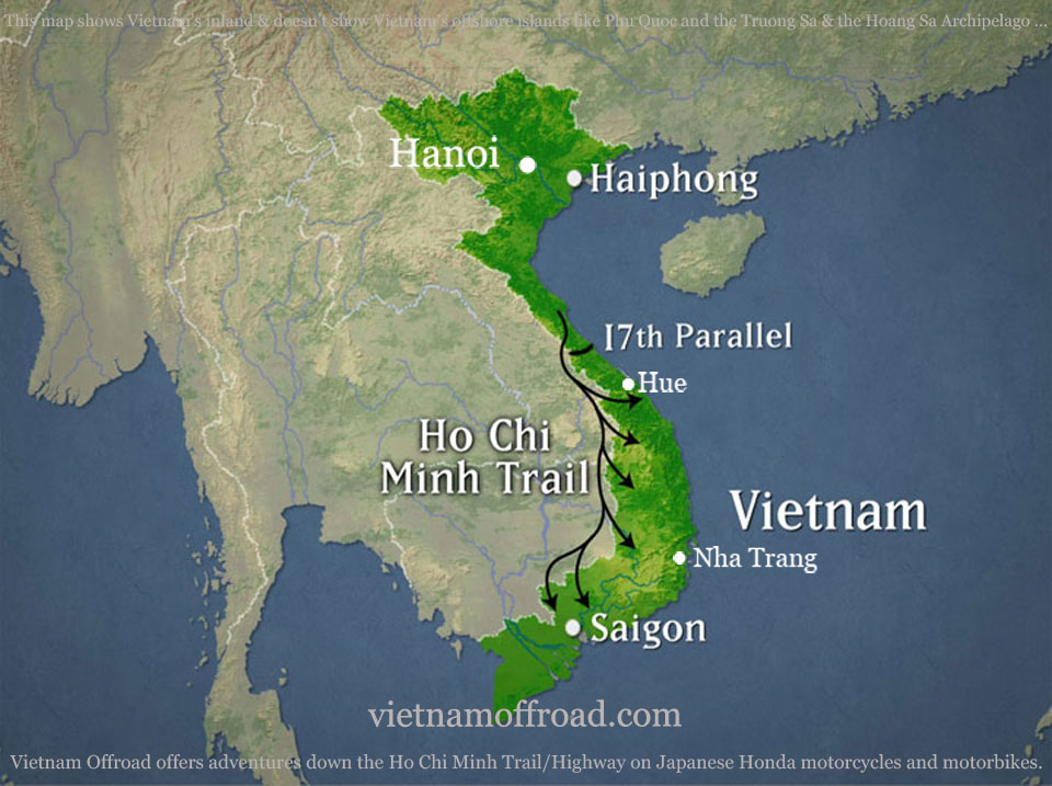 Vietnam Off-road Motorbike Tours - Ho Chi Minh Trail / Road 15 Days, Ho Chi Minh trail motorbike touring map, Ho Chi Minh road motorcycle tour map